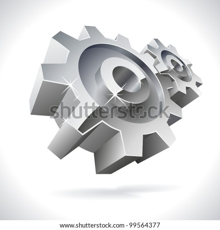 3D metal gears shiny icon isolated on white. - stock vector