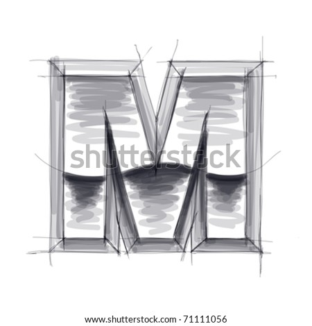 3d metal letters sketch - M. Eps10 - stock vector