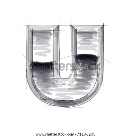 3d metal letters sketch - U. Eps10 - stock vector