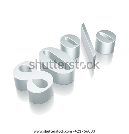 3d metallic character 80% with reflection on White background, EPS 10 vector illustration. - stock vector