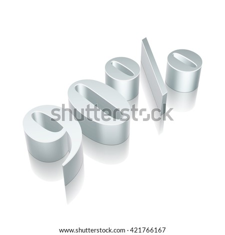 3d metallic character 90% with reflection on White background, EPS 10 vector illustration. - stock vector