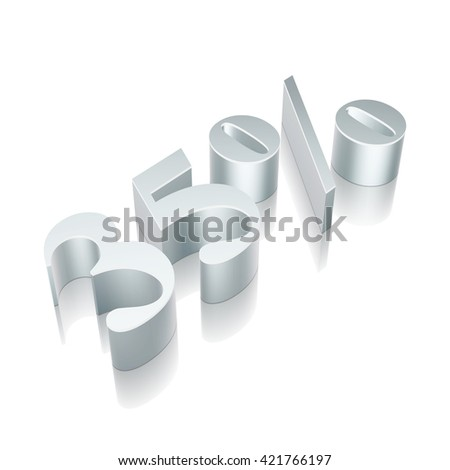 3d metallic character 35% with reflection on White background, EPS 10 vector illustration. - stock vector