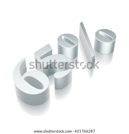 3d metallic character 65% with reflection on White background, EPS 10 vector illustration. - stock vector