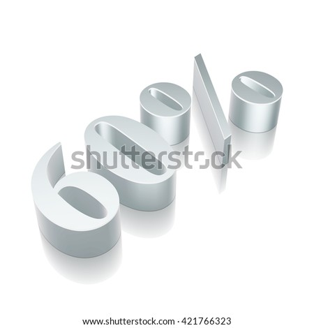3d metallic character 60% with reflection on White background, EPS 10 vector illustration. - stock vector