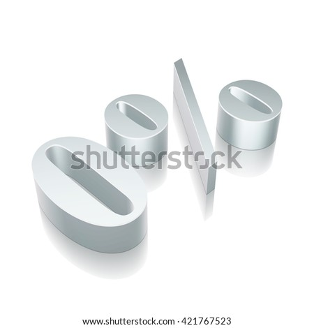3d metallic character 0% with reflection on White background, EPS 10 vector illustration. - stock vector