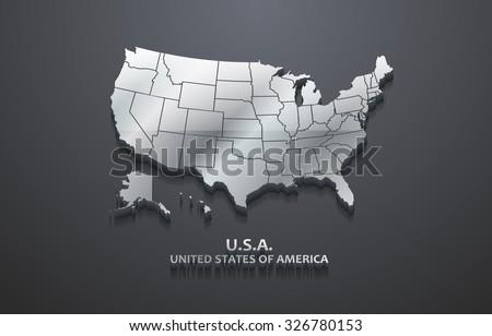 3D Metallic United States Map - stock vector