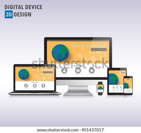 3d Modern devices mockups fpr your business projects. web templates included. - stock vector