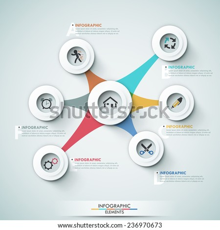 3d modern infographic options template with white circle shapes for 7 options. Vector. Can be used for web design and  workflow layout - stock vector