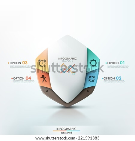 3d modern infographics options template with abstract white shield and icons. Vector. Can be used for web design and  workflow layout - stock vector