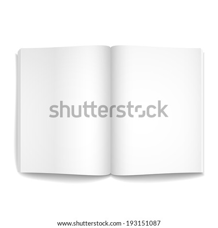 3d modern vector blank opened magazine template on white background - stock vector