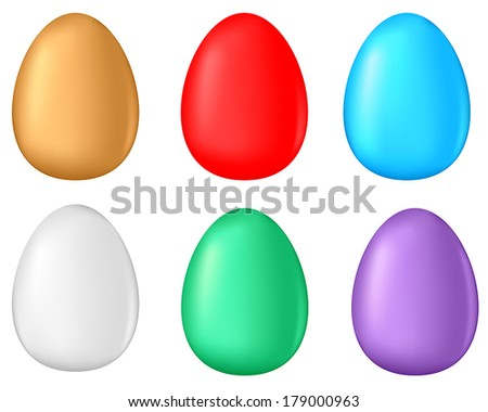 3D multicolor Easter egg set - stock vector