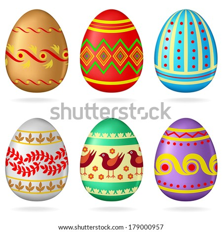 3D multicolor pattern Easter egg set - stock vector