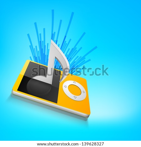 3D musical note on mp3 player. - stock vector