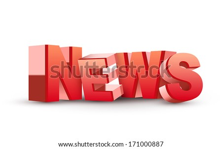 3D News word isolated white background - stock vector
