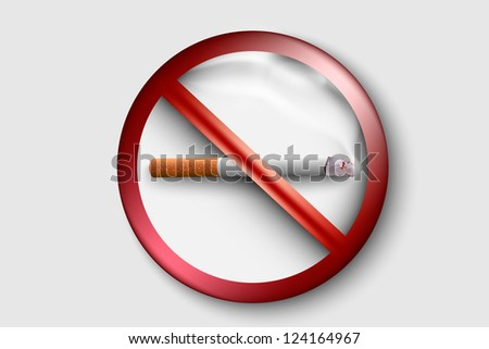 3D no smoking sign with a realistic cigarette - stock vector
