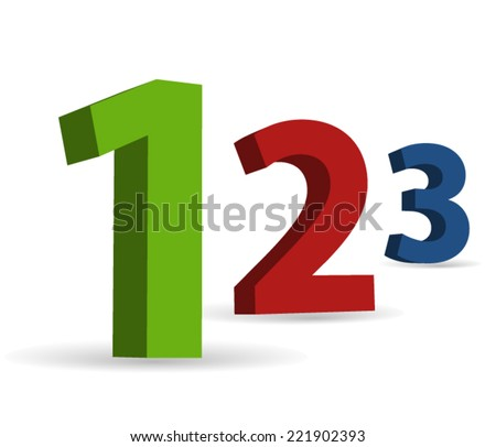 3D numbers: 1, 2 and 3 - stock vector