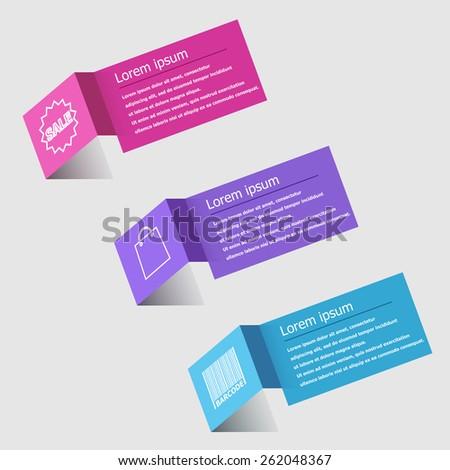3D origami infographic design template, stock vector - stock vector