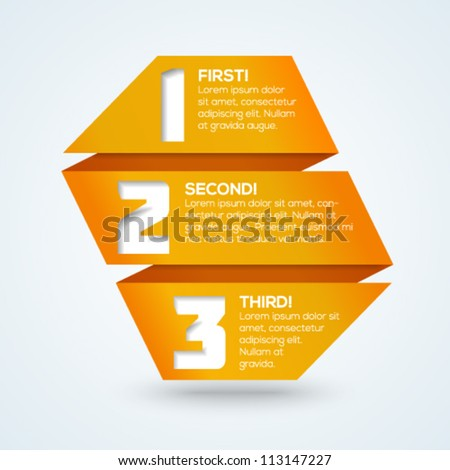 3d origami progress banner with numbers and place for your text. Vector illustration. - stock vector