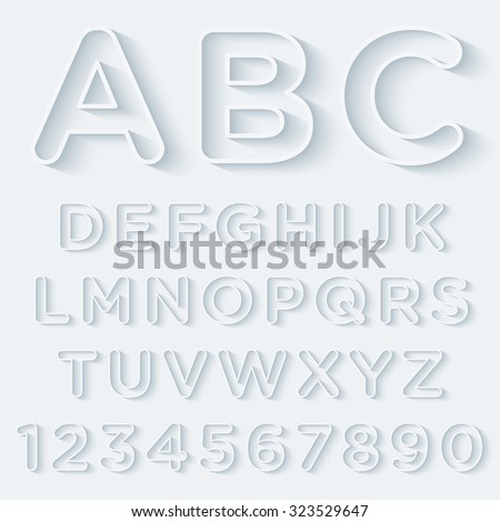 3D Outline With Shadow Alphabet Set. Vector EPS10. - stock vector