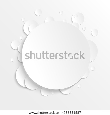 3D paper background with circles with place for text. Simple and cute vector illustration. Background template. - stock vector