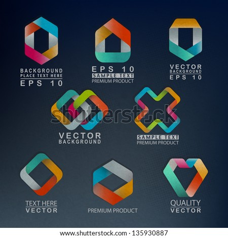 3D Paper Graphics with Abstract Shapes - stock vector