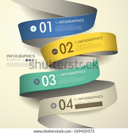 3d paper modern vector abstract flow chart infographic elements - stock vector