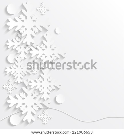 3D paper snowflakes. Winter vector illustration. Christmas background. - stock vector