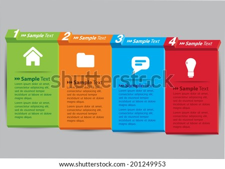 3D papers note text box, icon and number. - stock vector