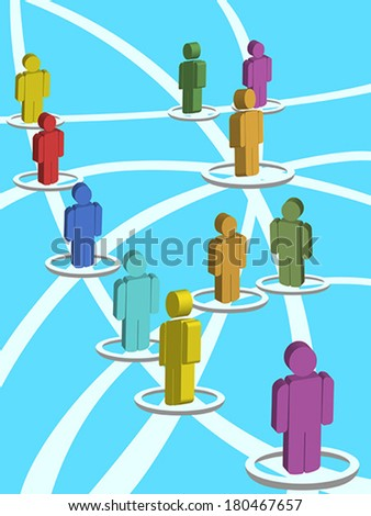3d people in a circular social network - stock vector