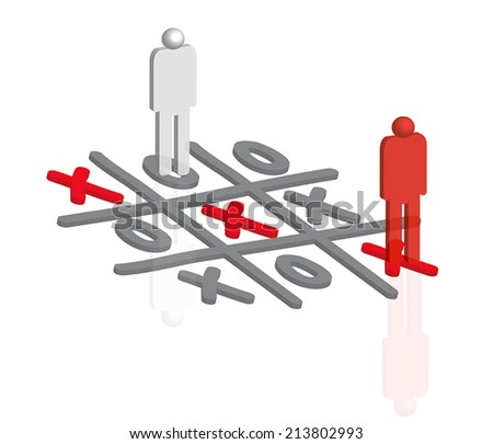 3D People playing tic tac toe  - stock vector