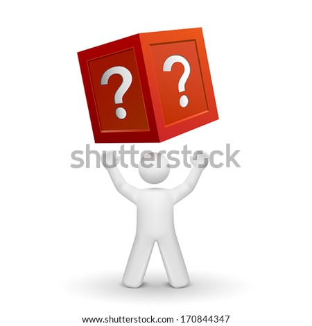 3d person looking up at a box with question mark isolated white background - stock vector