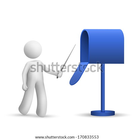 3d person pointing to a mail box isolated white background - stock vector
