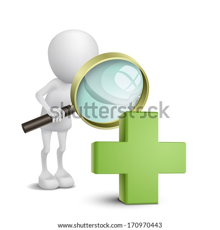 3d person watching a green cross with a magnifying glass - stock vector