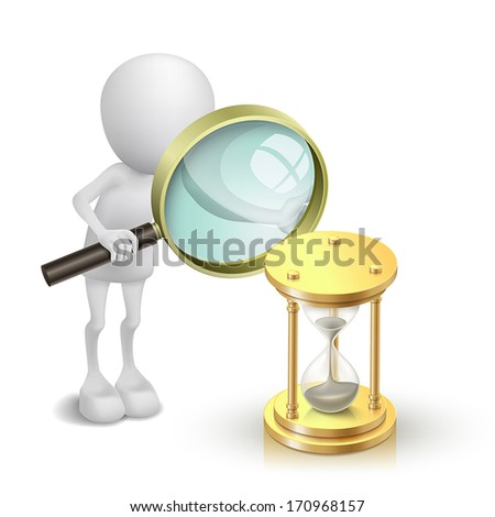 3d person watching a hourglass with a magnifying glass - stock vector