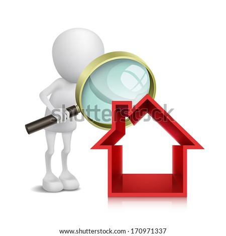 3d person with a magnifying glass to check a house - stock vector