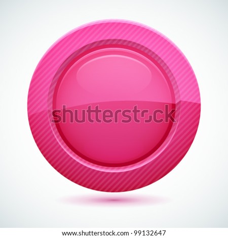 3D pink button. Vector illustration. - stock vector