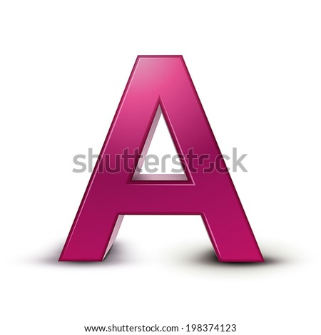 3d pink letter A isolated white background - stock vector
