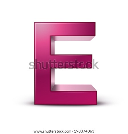 3d pink letter E isolated white background - stock vector
