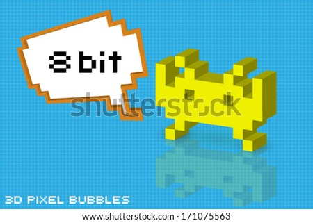 3d pixel arcade character with 8 bit bubble - stock vector