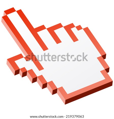 3D Pixel graphic hand - forefinger red - stock vector