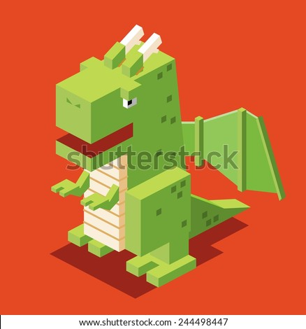 3d pixelate dragon. isometric vector - stock vector
