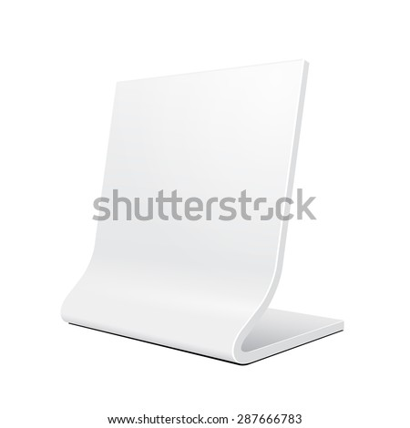 3D Plate Nameplate Or Outdoor Advertising POS POI Stand Banner. Illustration Isolated On White Background. Mock Up Template Ready For Your Design. Vector EPS10 - stock vector