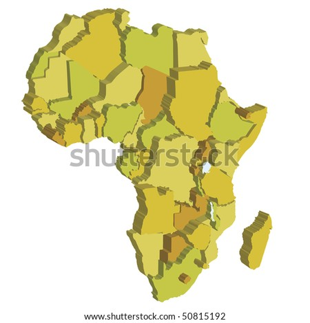 3d political map of africa with country territories - stock vector