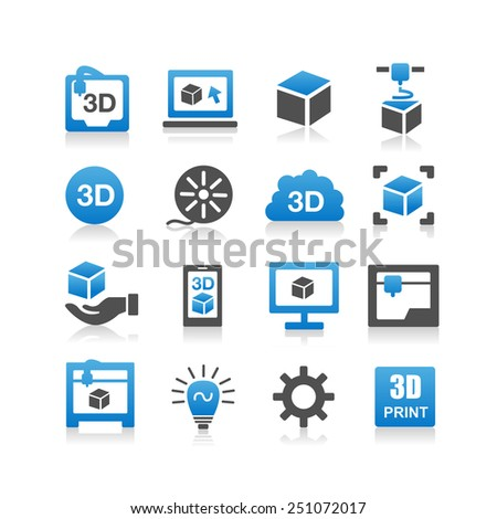 3D print icon set - Simplicity Series - stock vector