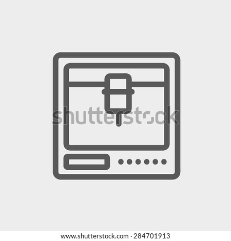 3D printer icon thin line for web and mobile, modern minimalistic flat design. Vector dark grey icon on light grey background. - stock vector
