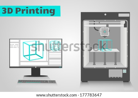 3D printer printing a cyan plastic cube from computer. LCD monitor shows software ui with 3D cube model. - stock vector