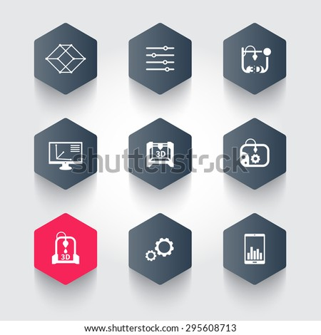 3d printer, printing, modeling, additive manufacturing, hexagon icons, vector illustration, eps10, easy to edit - stock vector
