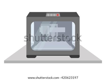 3D printer vector, 3d printing, Industrial 3D printer prints - stock vector
