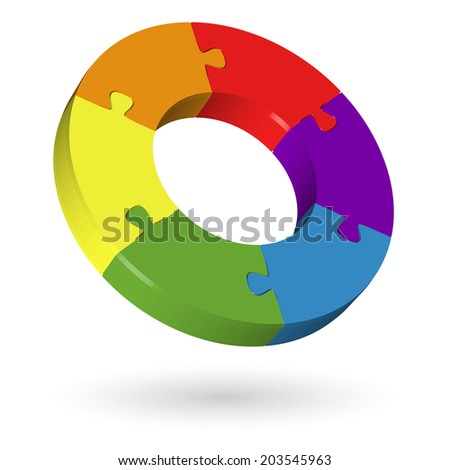 3D puzzle circle - 6 parts - stock vector