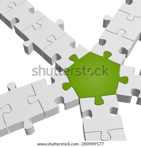 3D Puzzle Connection / Teamwork symbolism - stock vector